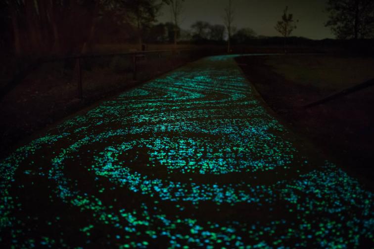 Geceleri Zemini Parlayan Bisiklet Yolu